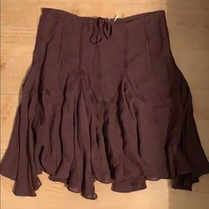 Brown linen blend skirt